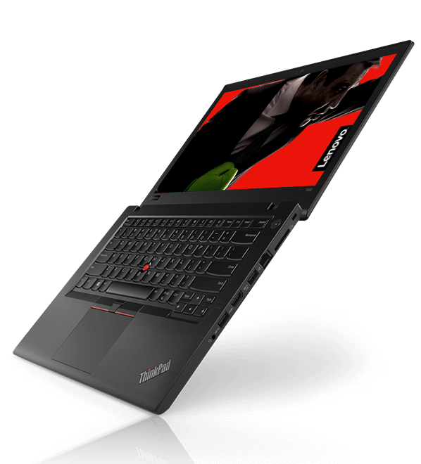 Lenovo ThinkPad T480 open 180 degrees, floating in the air, angled right to show side ports