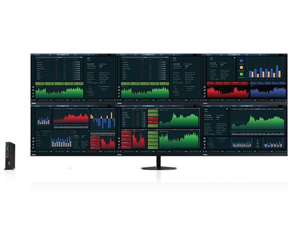 Lenovo ThinkCentre M910x Tiny, connected to 6 independent displays