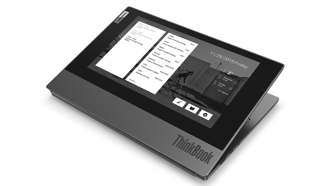 Lenovo ThinkBook Plus showing notifications on top cover display.