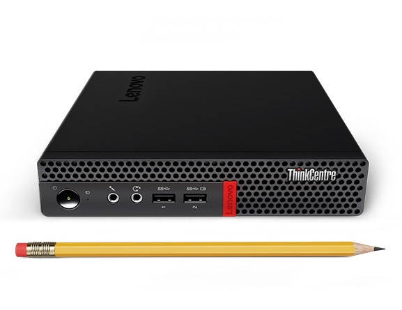 Lenovo ThinkCentre M625q Tiny next to a pencil for scale.