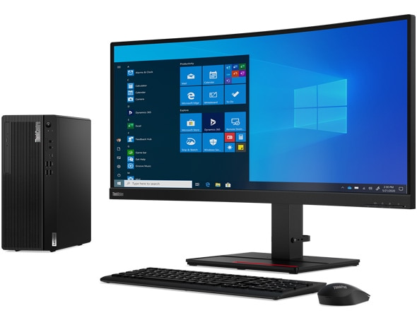 11_ThinkCentre M70t_GEN_2_Hero_KB_Mouse_2_T34w_front_forward_facing (Needs disclaimer: dual monitors, keyboard, and mouse not included)