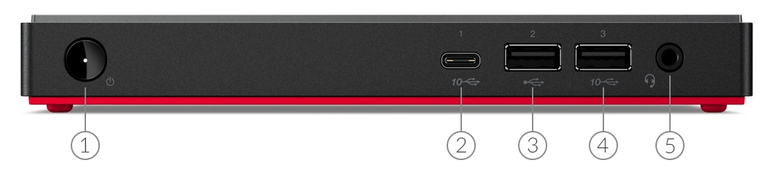 Desktop Lenovo ThinkCentre M75n: vista frontal a mostrar as portas