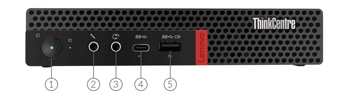 Lenovo ThinkCentre M75q Tiny desktop front view showing ports