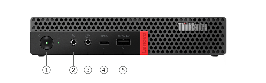 ThinkCentre m920x Tiny front view showing ports