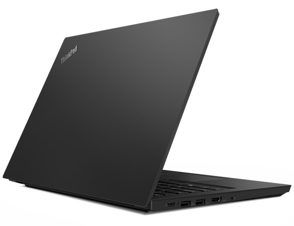 Side view of the Lenovo ThinkPad E14 laptop, showing the front cover and slightly open