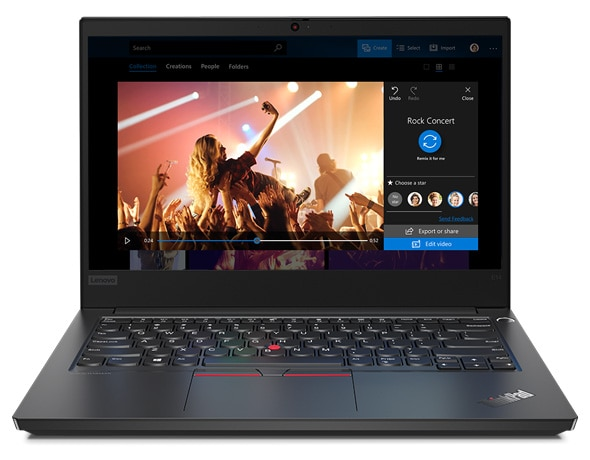 Front-facing view of the Lenovo ThinkPad E14 laptop, with display open and showing a rock concert