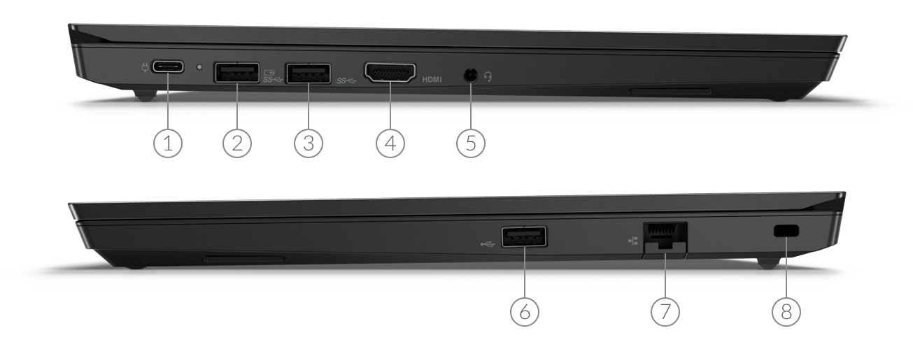 Lenovo ThinkPad E14 side view showing ports