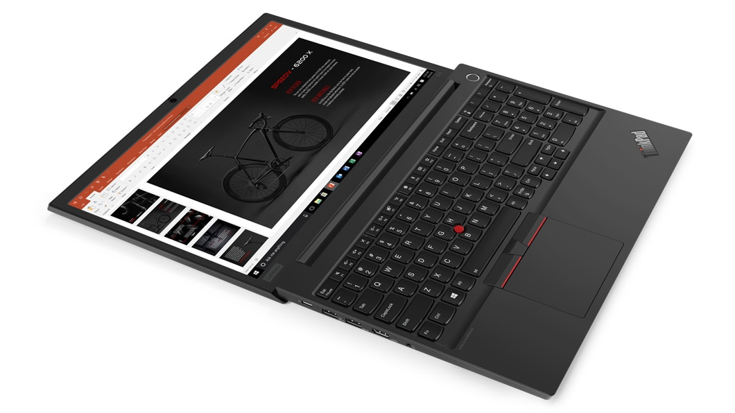 The Lenovo ThinkPad E15 laptop fully open, showing the keyboard and touchpad