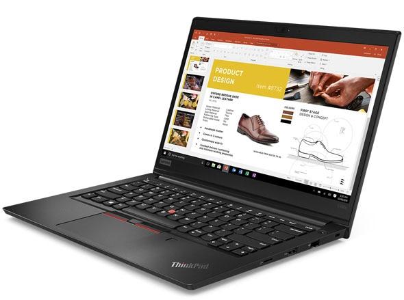 Máy tính xách tay Lenovo ThinkPad E490s mở 90 độ, góc hơi phải.
