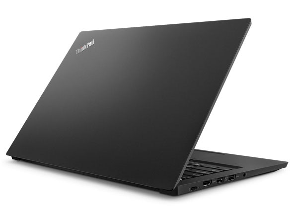 Lenovo ThinkPad E490s laptop showing top metallic cover in Black.