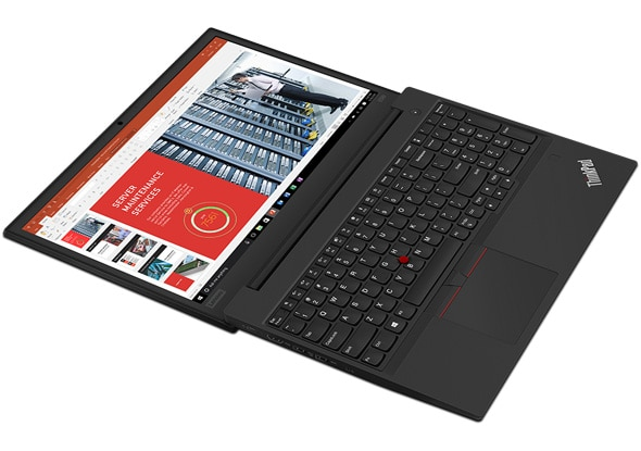 Lenovo ThinkPad E590 laptop opened 180 degrees.