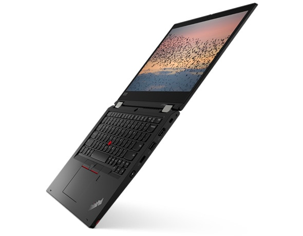 Thin and light Lenovo ThinkPad L13 Yoga laptop open 180 degrees.