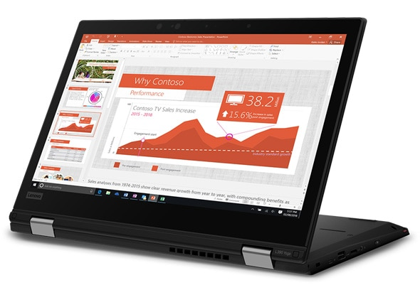 Lenovo ThinkPad L390 Yoga - Business 2-in-1 laptop open in presentation mode
