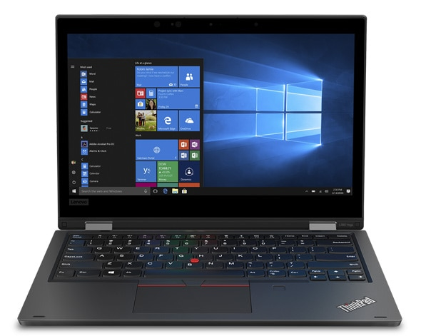 Lenovo ThinkPad L390 Yoga - Business 2-in-1 laptop open, revealing 13.3