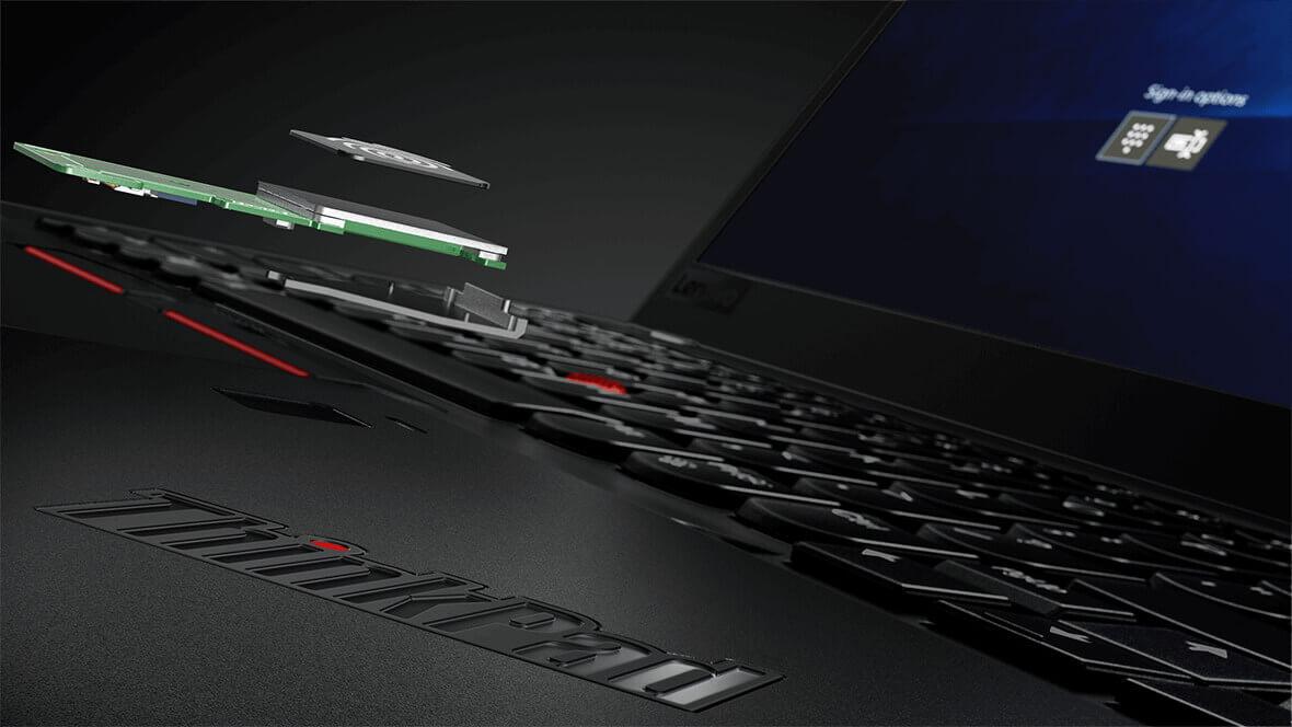 Lenovo ThinkPad X1 Carbon, closeup of fingerprint reader components