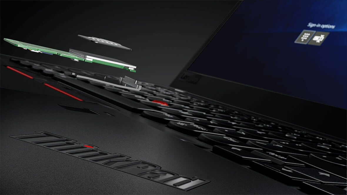 Lenovo ThinkPad X1 Carbon, closeup of fingerprint reader components