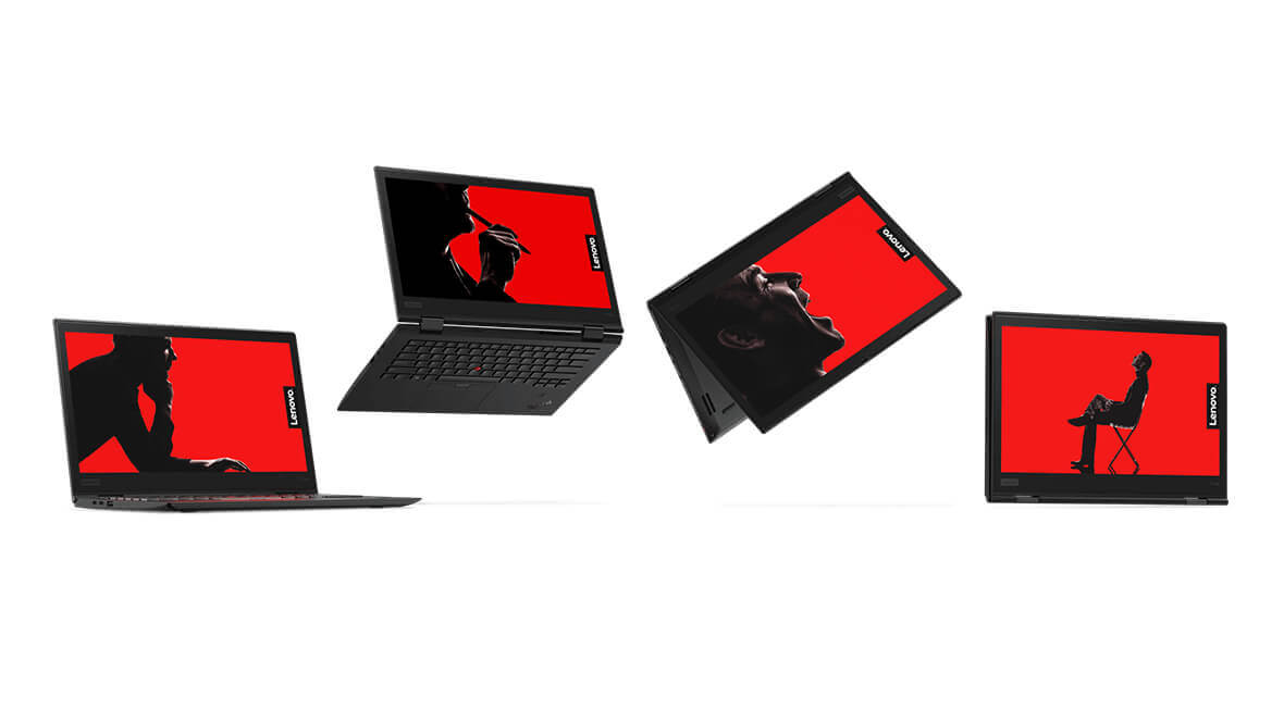 Lenovo ThinkPad X1 Yoga shown in four different use modes