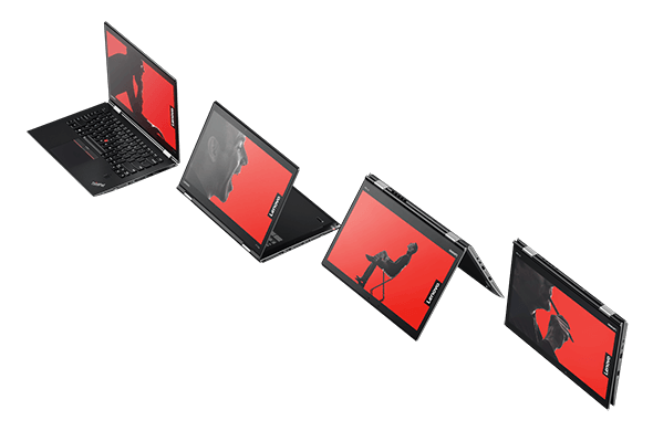 ThinkPad X1 Yoga in 4 different modes: laptop, stand, tent, tablet