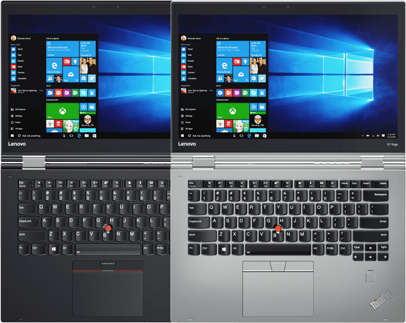 Lenovo ThinkPad X1 Yoga Silver and Black Models Side-by-side