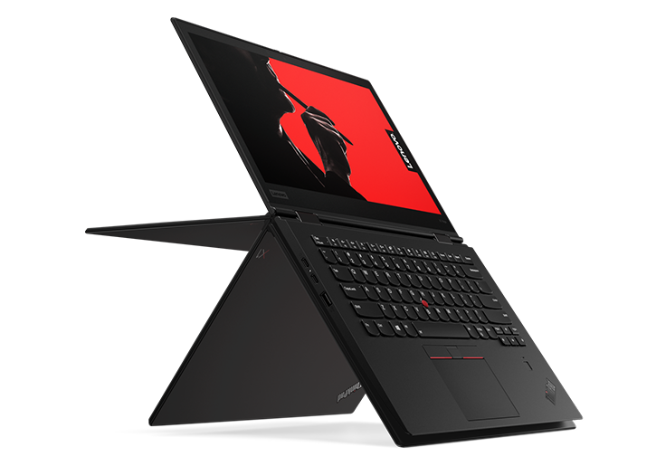 Lenovo ThinkPad X1 Yoga (3rd Gen) in multiple positions showing use of flexible 360-degree hinge.