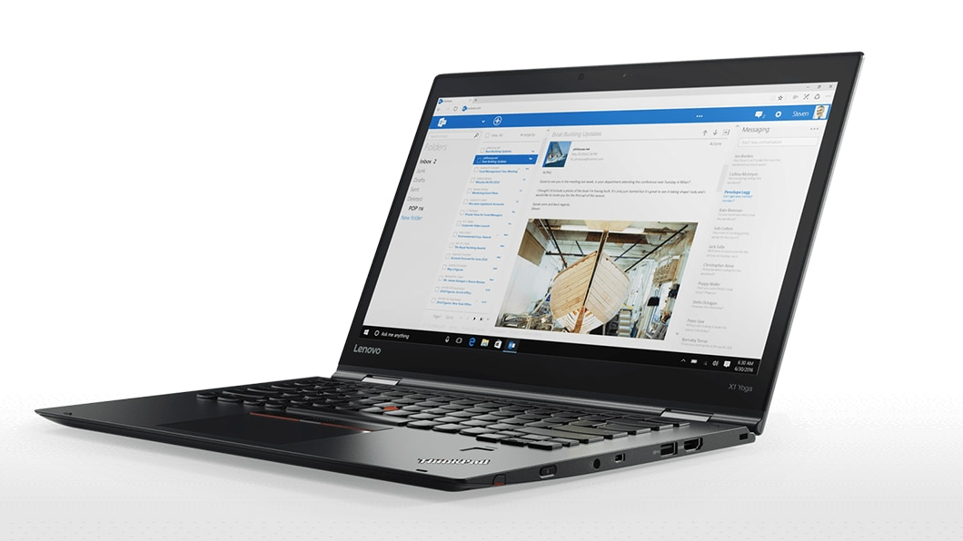 Black ThinkPad X1 Yoga 2-in-1 used as a laptop.