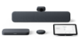 Thumbnail view of Lenovo ThinkSmart Google Meet Room Kit with speaker bar, standard camera, compute unit, microphone pod, and touch controller in Charcoal