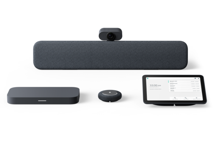 Lenovo ThinkSmart Google Meet Room Kit with speaker bar, standard camera, compute unit, microphone pod, and touch controller in Charcoal
