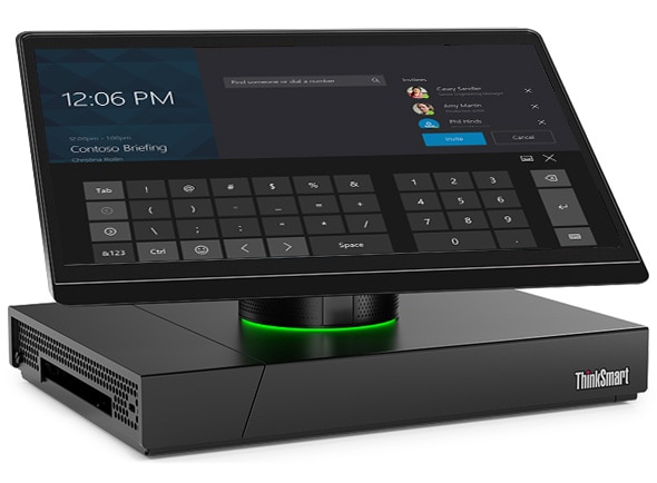 Front view of Lenovo ThinkSmart Hub 500: Encourages greater collaboration and productivity