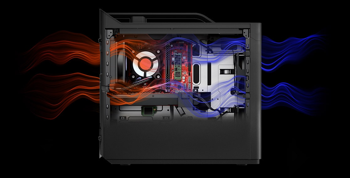 Lenovo Legion T730 Tower left side transparent graphic showing airflow through chassis.