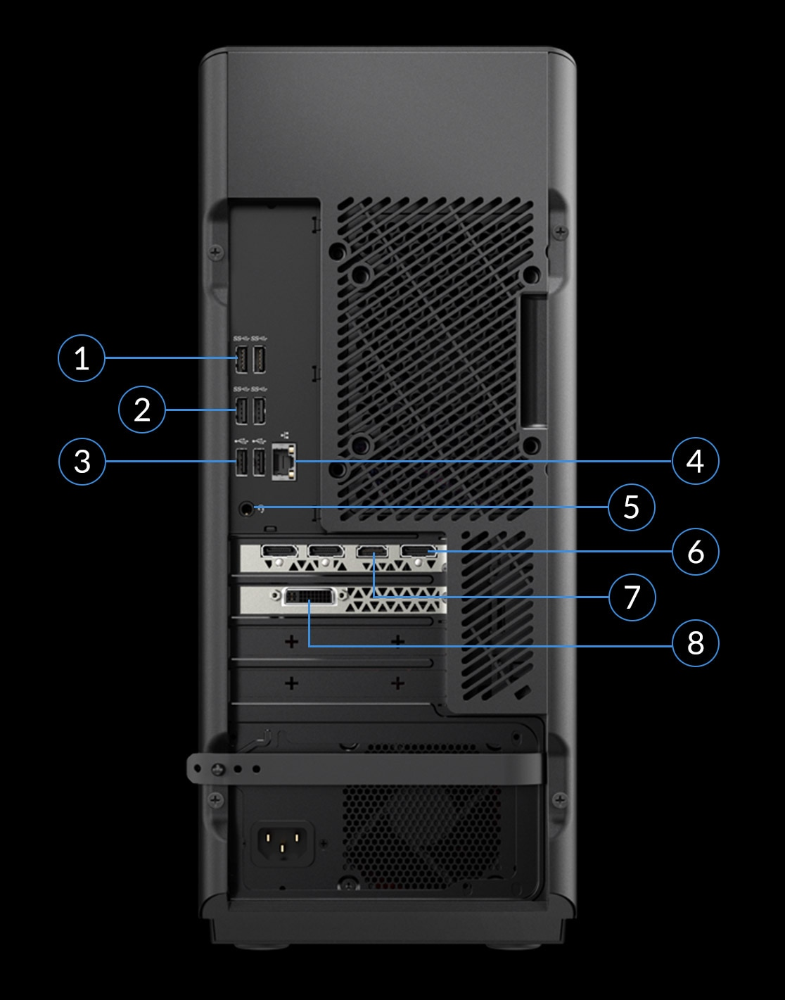 Lenovo Legion T730 Tower rear view with numbers for port identification.