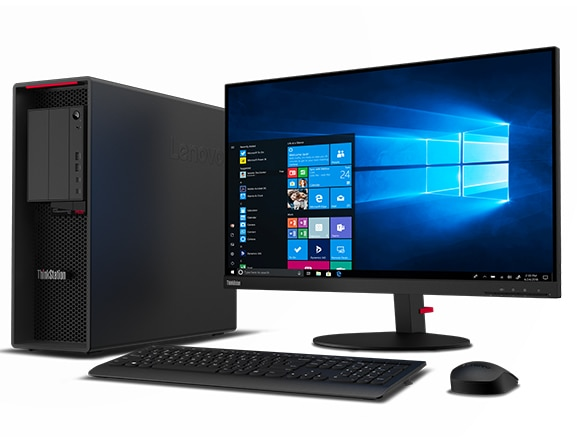 Lenovo ThinkStation P620 tower with monitor, keyboard, and mouse.