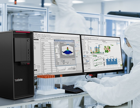 Lenovo ThinkStation P620 tower in use in a lab with two independent monitors.