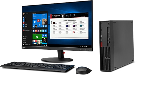 Lenovo ThinkStation P330 SFF workstation showing Windows 10 Pro on the monitor, and positioned with keyboard and mouse.