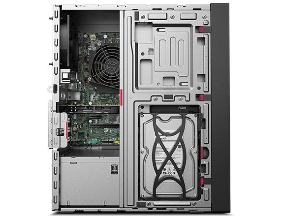 Lenovo ThinkStation P330 Tower, left side view with side panel removed showing internals.