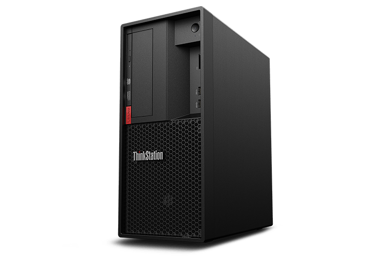 Lenovo ThinkStation P330 Tower, front right side view.