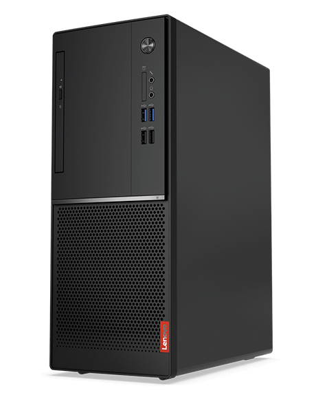 Lenovo V320 tower desktop front view, vertically positioned.