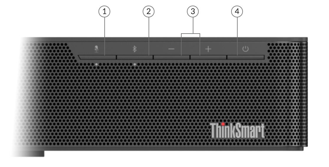 Lenovo ThinkSmart Bar audio bar—close-up of buttons, numbered for identification