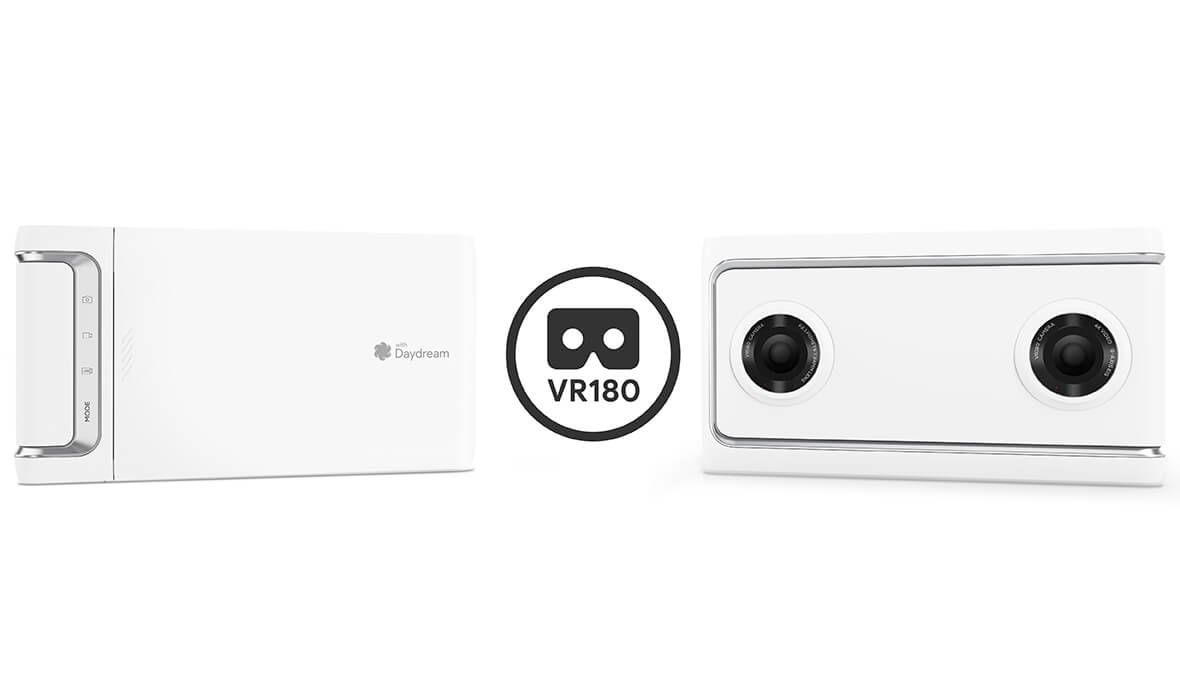 Lenovo Mirage Camera, front and back views with VR180 logo