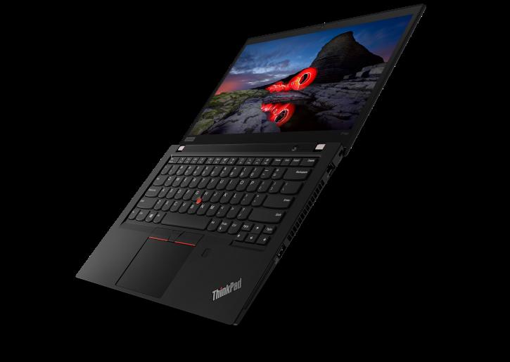 Vue avant trois quarts de Lenovo ThinkPad P14s Workstation ouvert 180 degrés