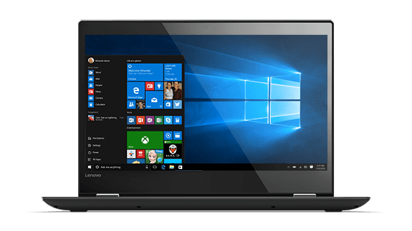 Lenovo Yoga 520 (14) front view featuring Windows 10 Home