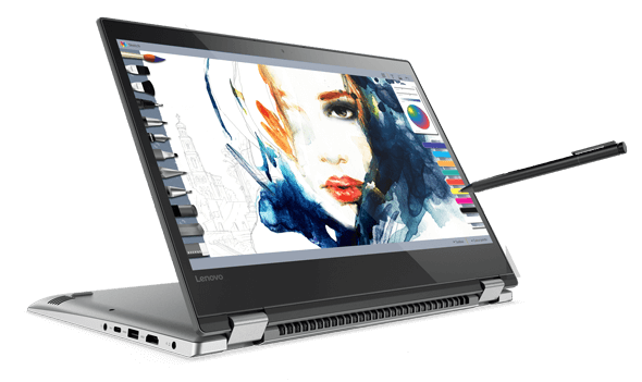 Lenovo Yoga 520 (14) in stand mode with Lenovo Active Pen