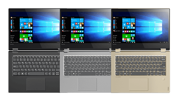 Lenovo Yoga 520 (14) in black, grey, and gold. Overhead view open 180 degrees