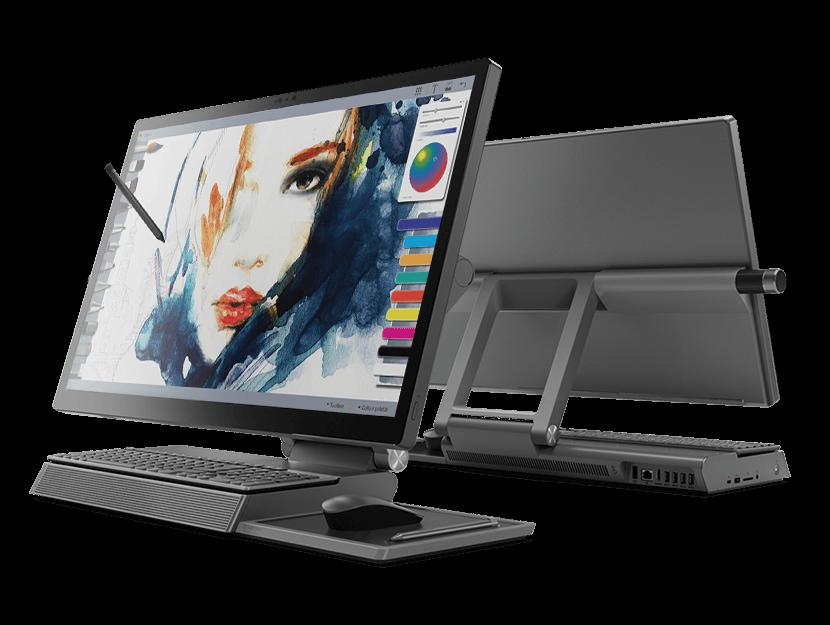 Vues avant et arrière de l'ordinateur de bureau Lenovo Yoga série A