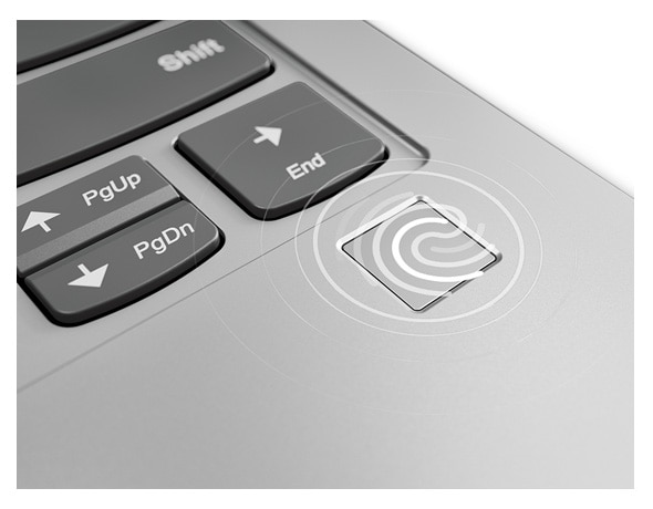 Close-up shot of the Yoga S730's secure fingerprint reader