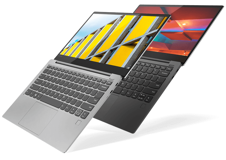 The stylish, ultraslim Yoga S730 in Iron Gray and Platinum colors.