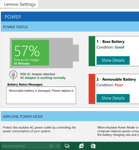 Configuraciones de energía Power Settings de Lenovo