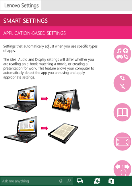 Smart Settings de Lenovo