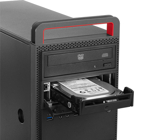 Lenovo ThinkCentre M800 Tower Desktop front view of option drive bay