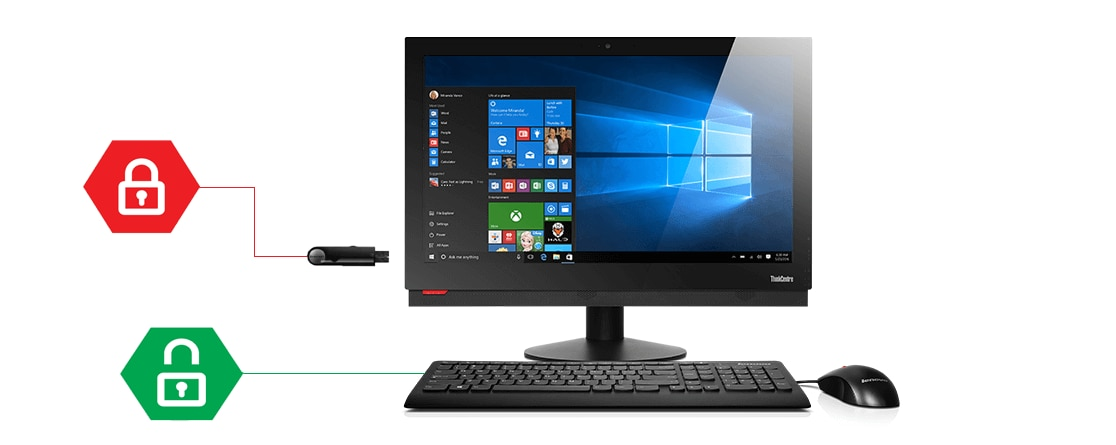 Lenovo ThinkCentre M910z All-in-One, front view with icons representing Smart USB Protection