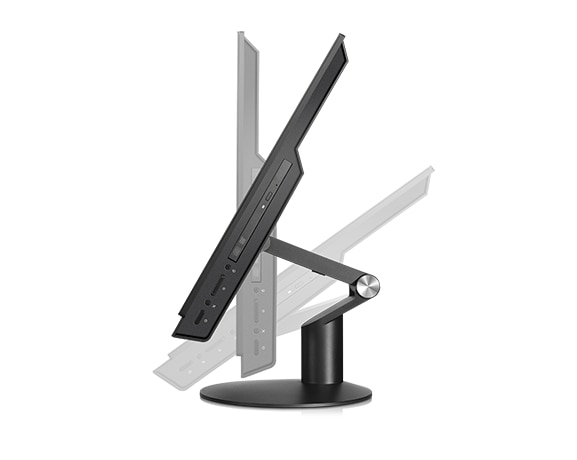 Lenovo ThinkCentre M910z All-in-One, side view showing stand tilt, height, and swivel functionality